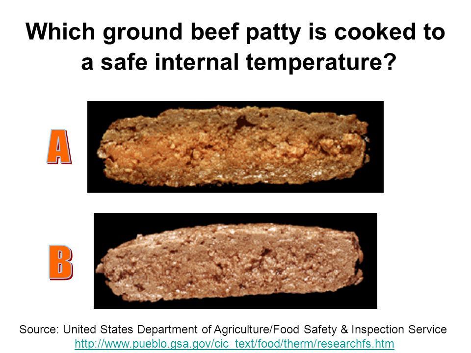 Which ground beef patty is cooked to a safe internal temperature