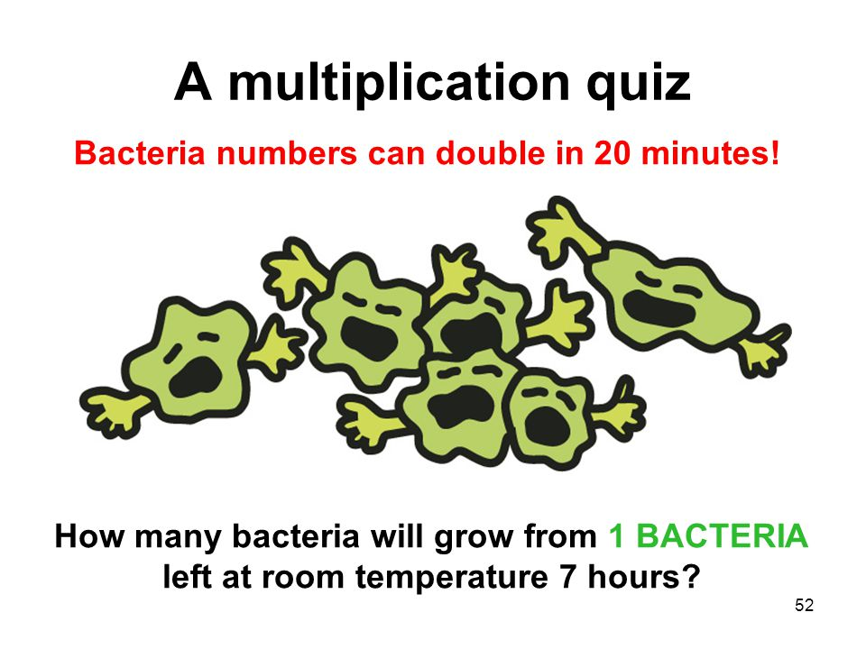 Bacteria numbers can double in 20 minutes!