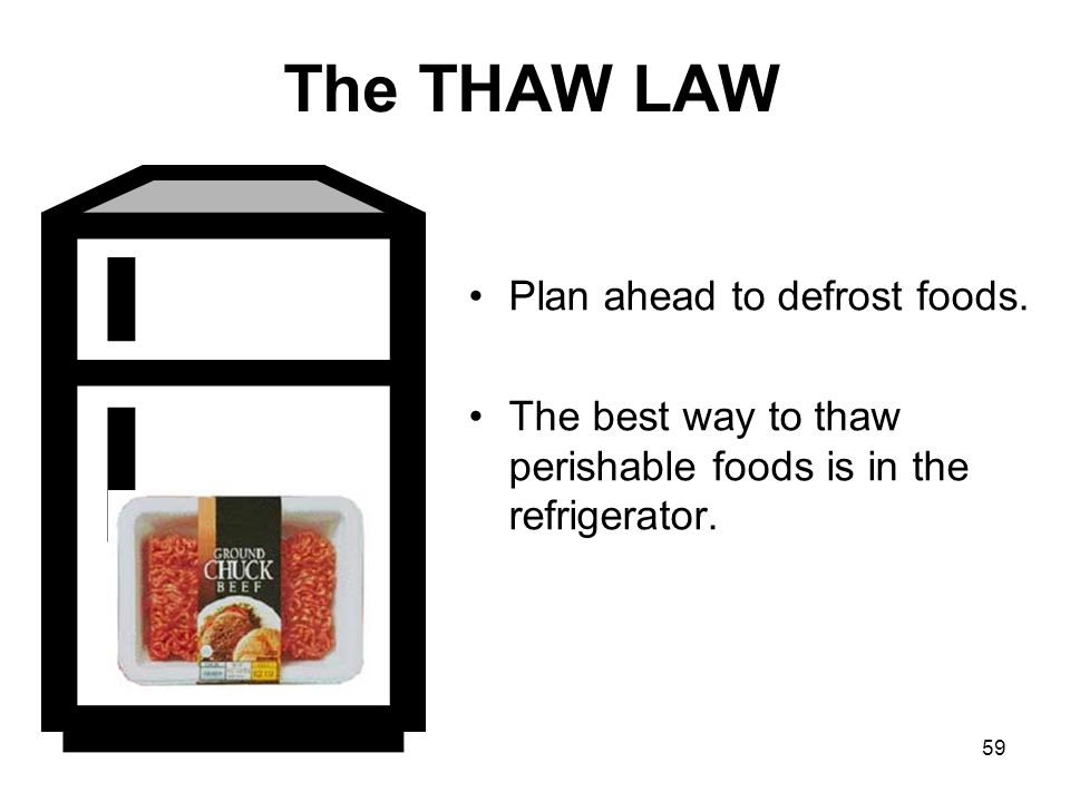 The THAW LAW Plan ahead to defrost foods.