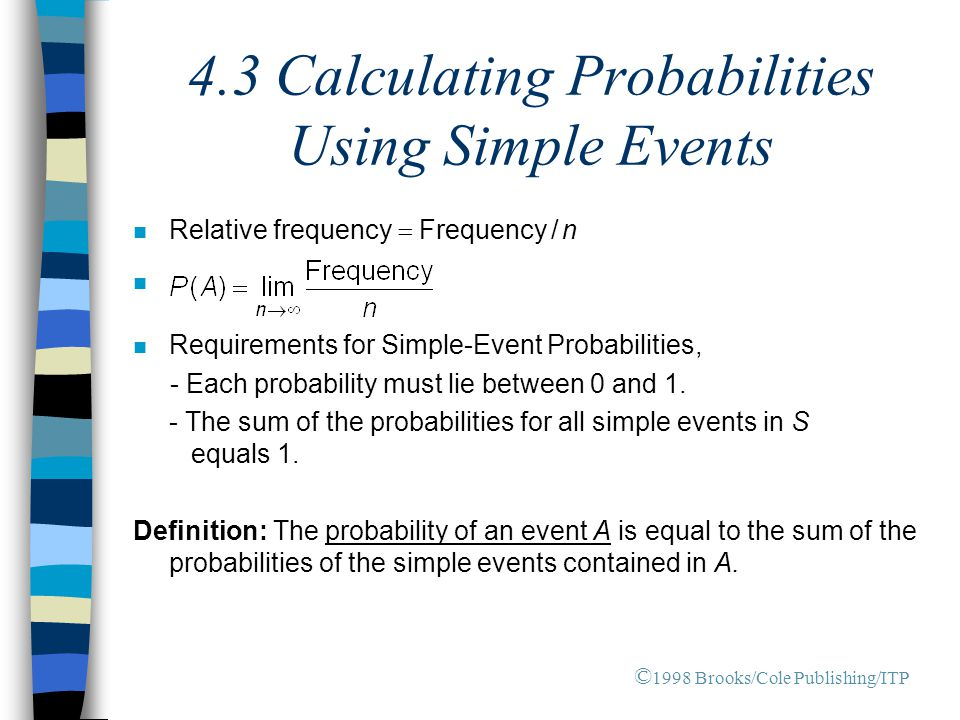 4.3 Calculating Probabilities Using Simple Events