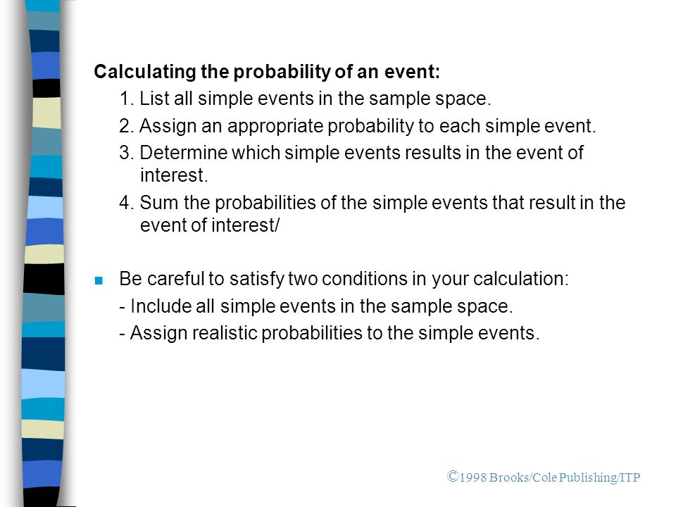 Calculating the probability of an event: