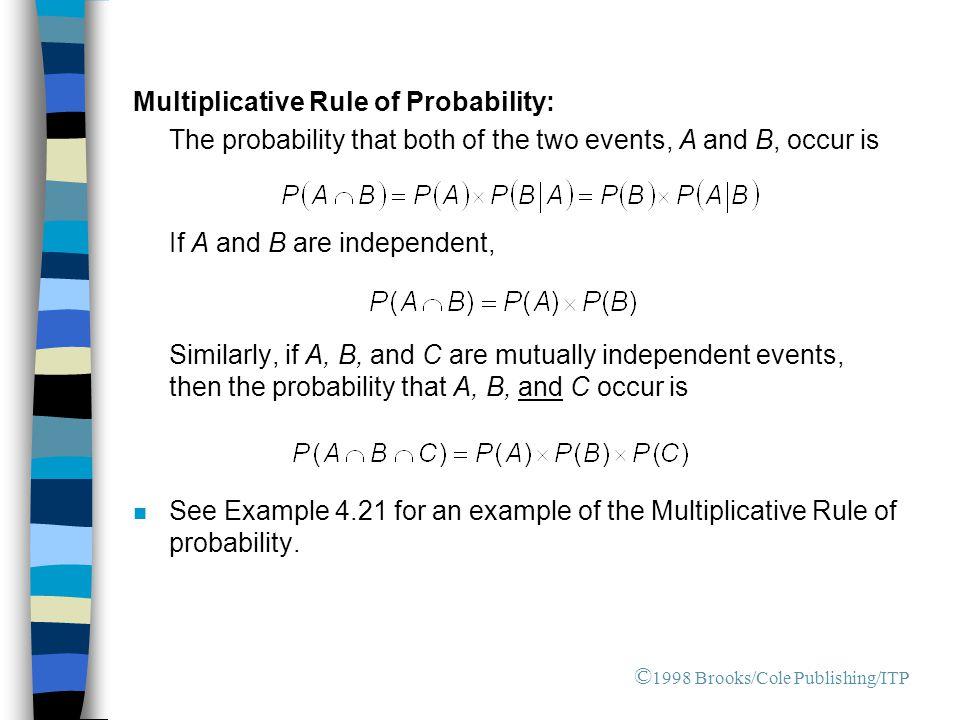 Multiplicative Rule of Probability: