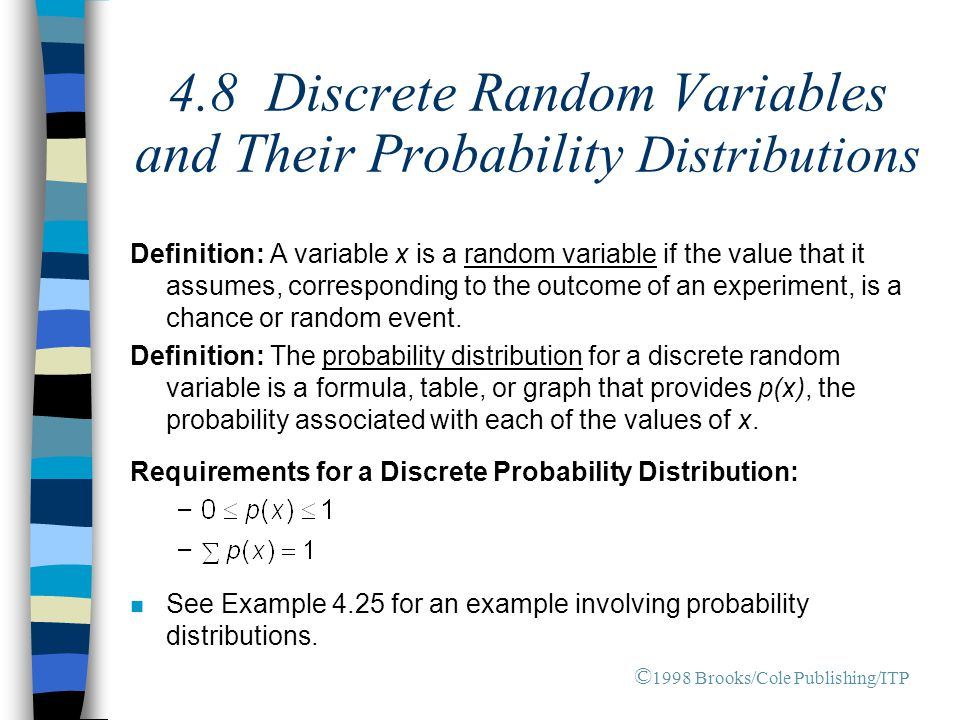 4.8 Discrete Random Variables and Their Probability Distributions