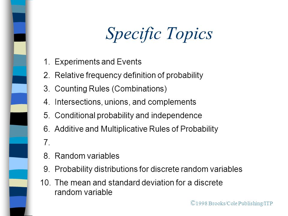 Specific Topics 1. Experiments and Events