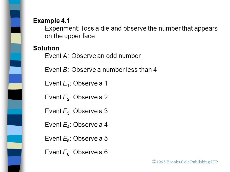 Event A : Observe an odd number Event B : Observe a number less than 4