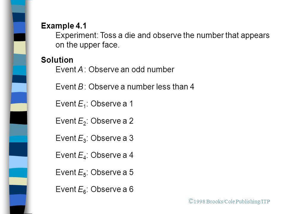 Event A : Observe an odd number Event B : Observe a number less than 4
