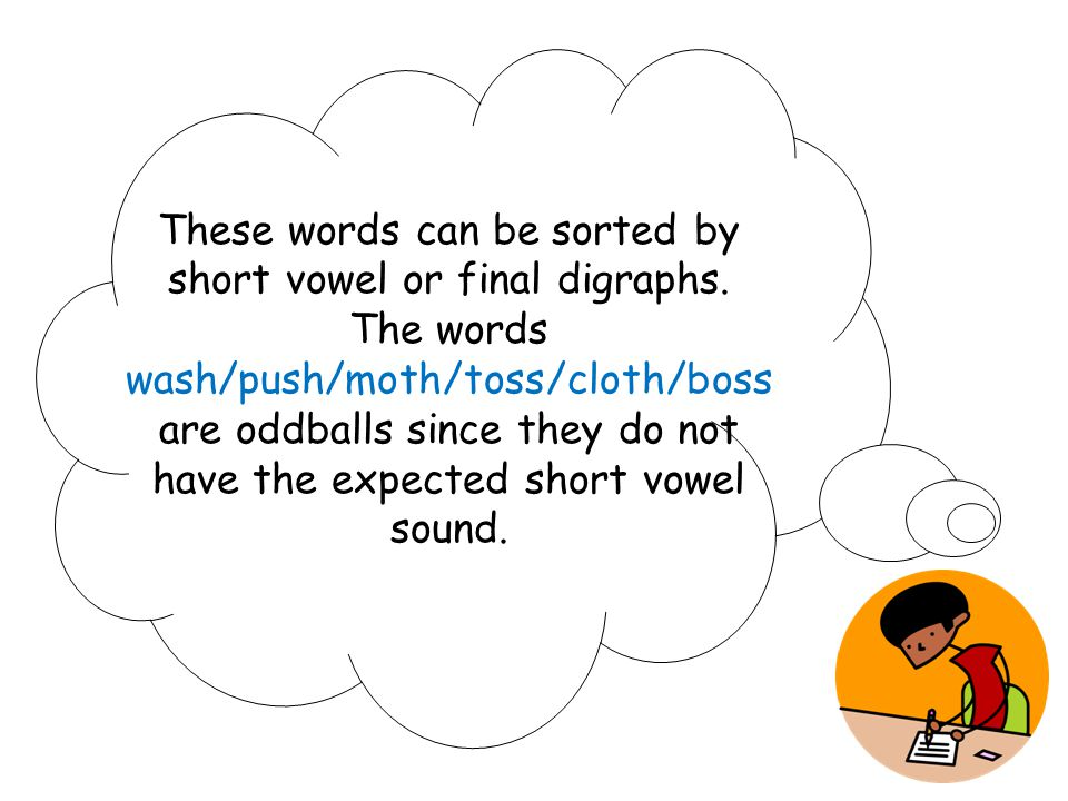 These words can be sorted by short vowel or final digraphs.