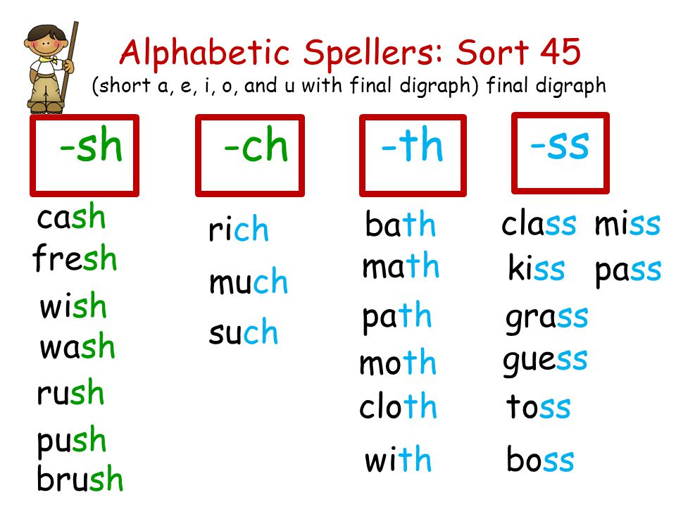Alphabetic Spellers: Sort 45 (short a, e, i, o, and u with final digraph) final digraph