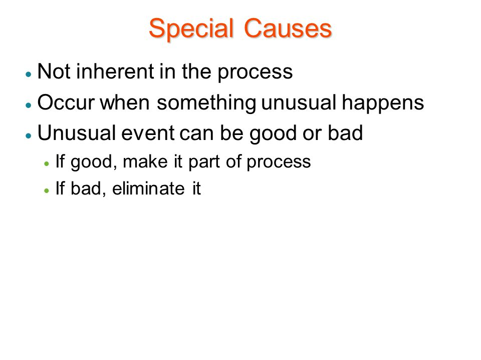 Special Causes Not inherent in the process