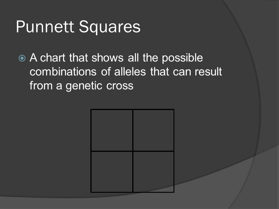 Punnett Squares A chart that shows all the possible combinations of alleles that can result from a genetic cross.