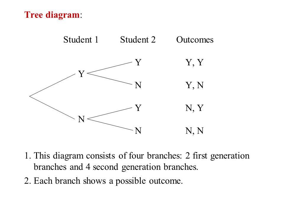 Tree diagram: Student 1 Student 2 Outcomes. Y Y, Y. Y. N Y, N. Y N, Y. N. N N, N.