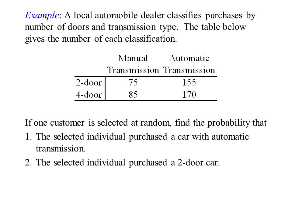 Example: A local automobile dealer classifies purchases by number of doors and transmission type. The table below gives the number of each classification.
