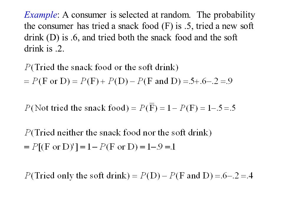 Example: A consumer is selected at random