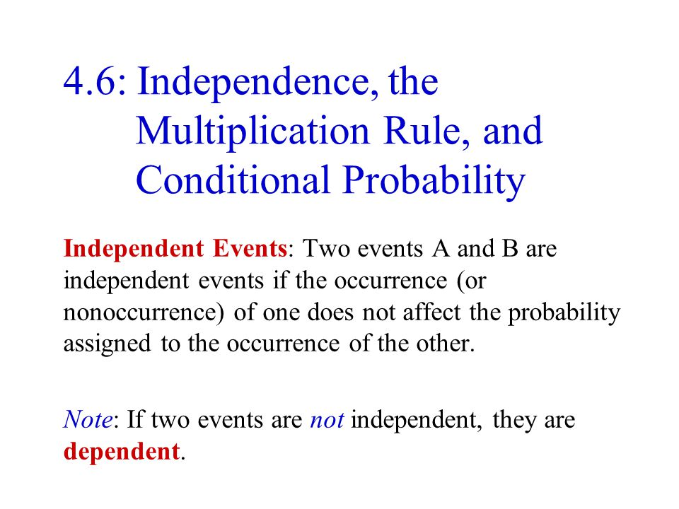 4.6: Independence, the Multiplication Rule, and Conditional Probability
