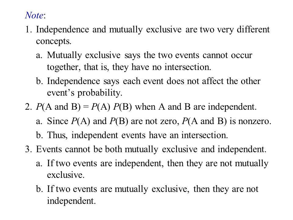 Note: 1. Independence and mutually exclusive are two very different concepts.
