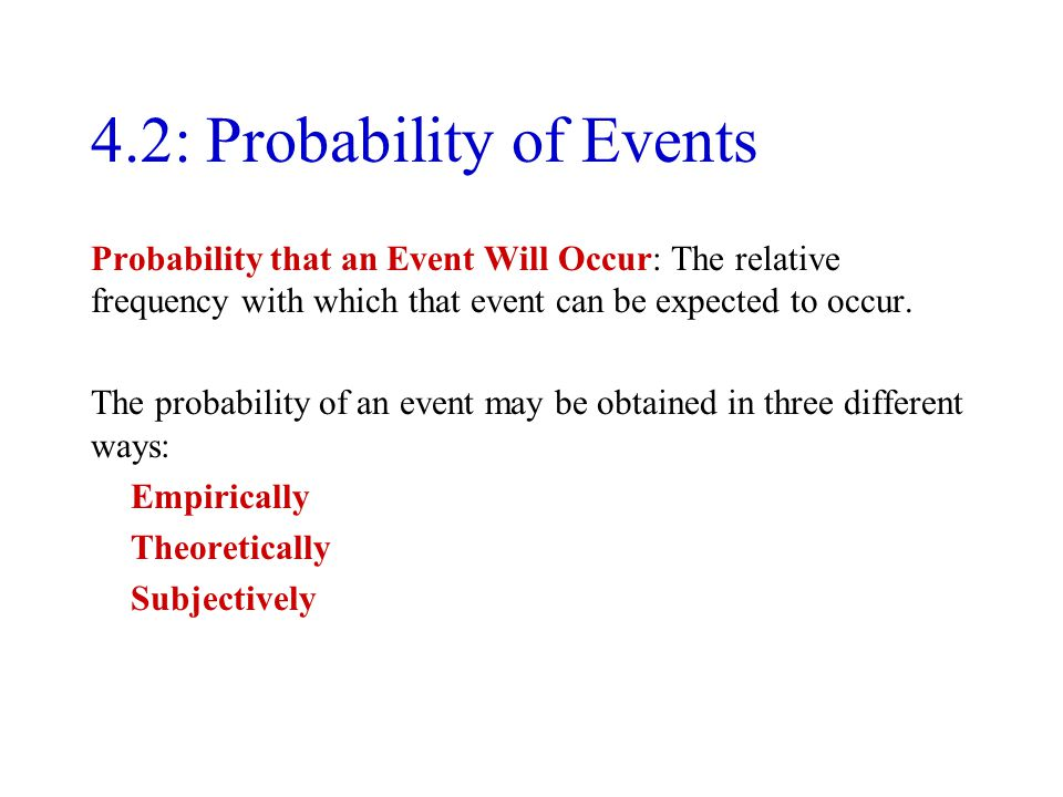 4.2: Probability of Events