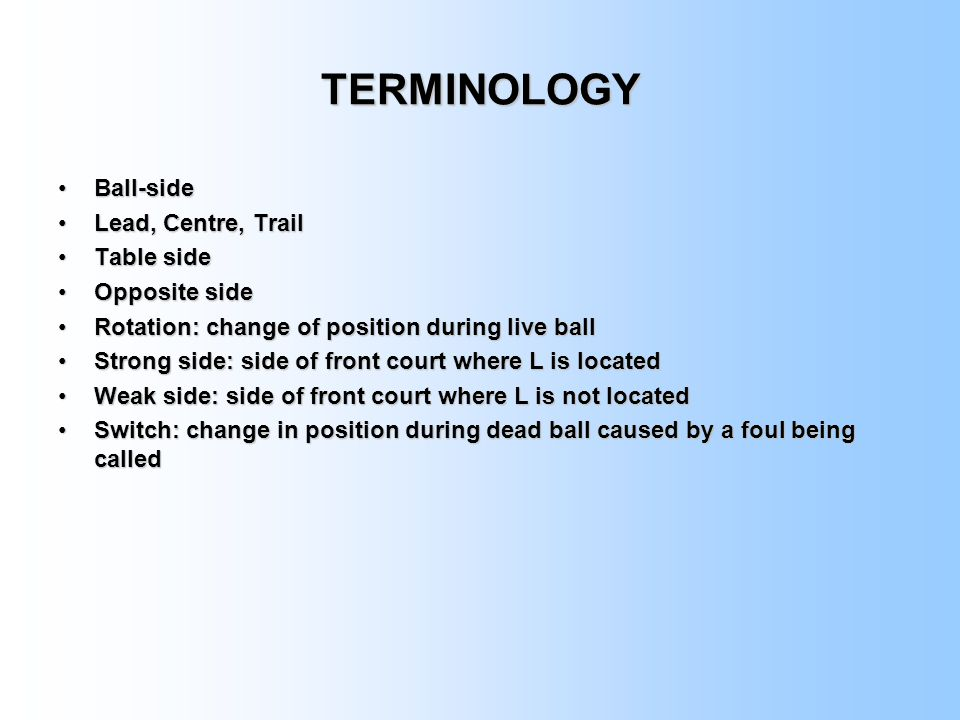 TERMINOLOGY Ball-side Lead, Centre, Trail Table side Opposite side