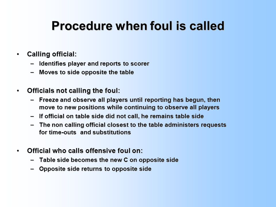 Procedure when foul is called
