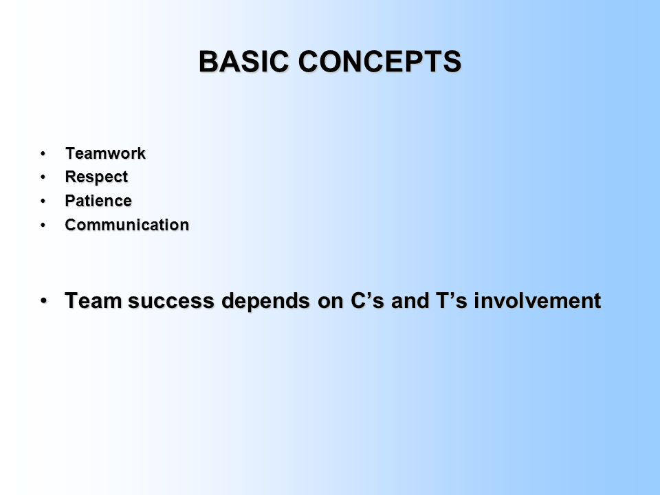 BASIC CONCEPTS Team success depends on C's and T's involvement