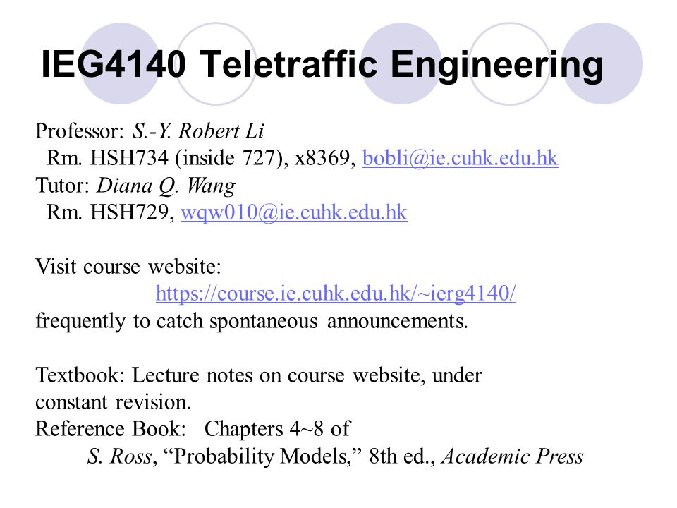 IEG4140 Teletraffic Engineering