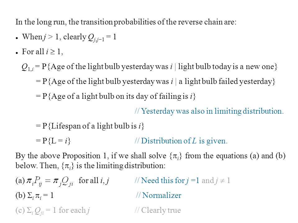 In the long run, the transition probabilities of the reverse chain are: