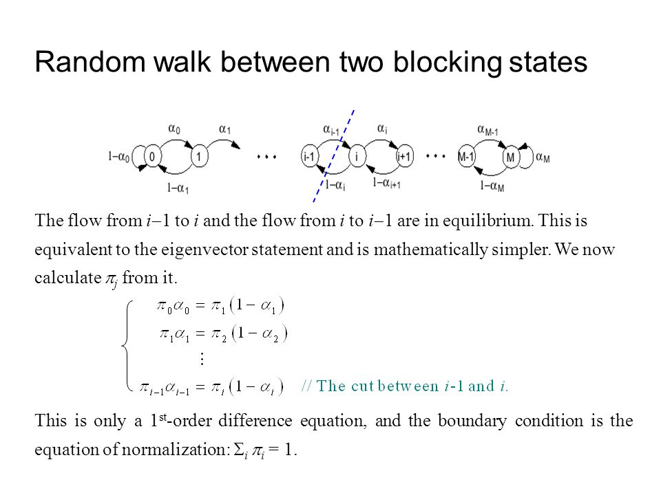 Random walk between two blocking states
