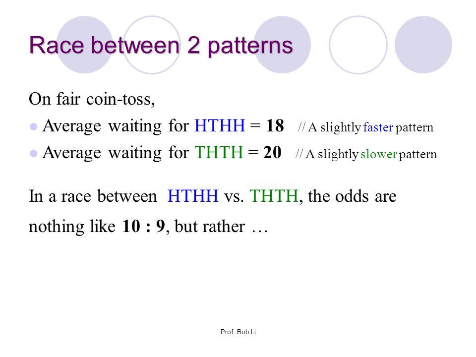 Race between 2 patterns On fair coin-toss,