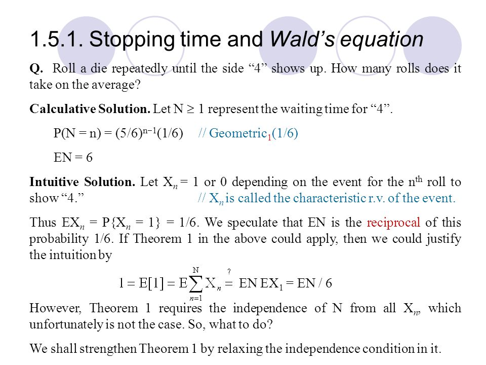 1.5.1. Stopping time and Wald's equation