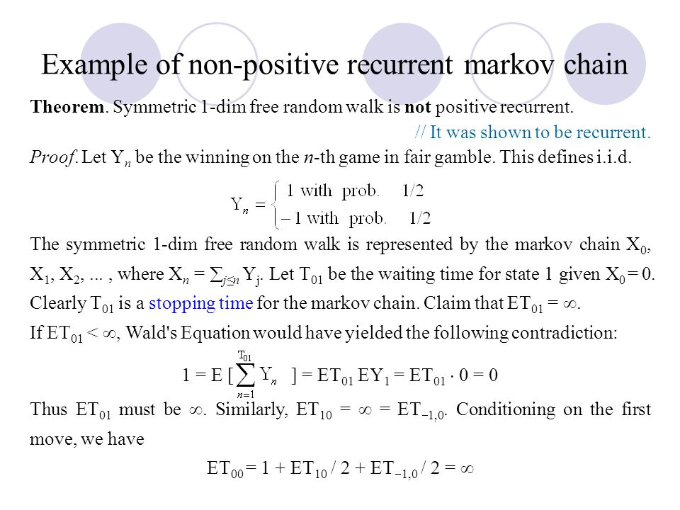 Example of non-positive recurrent markov chain
