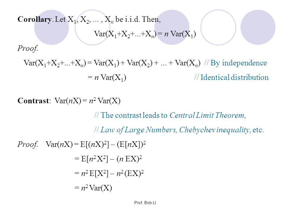 Var(X1+X2+...+Xn) = n Var(X1)