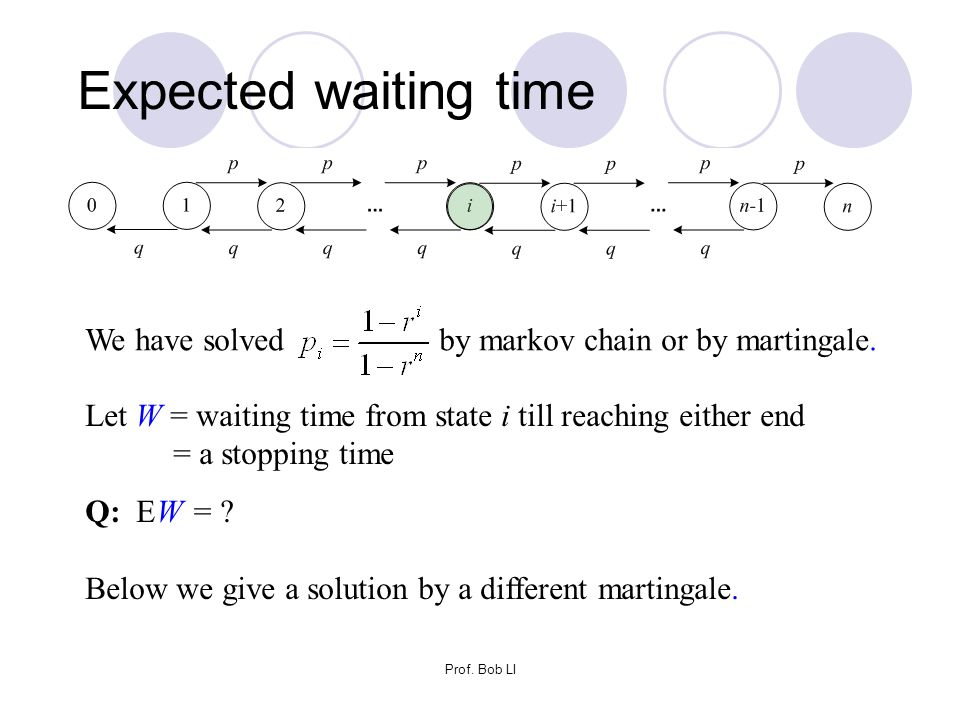 Expected waiting time We have solved by markov chain or by martingale.