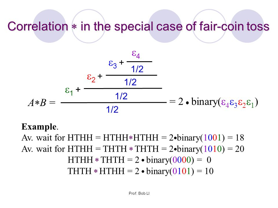 Correlation  in the special case of fair-coin toss