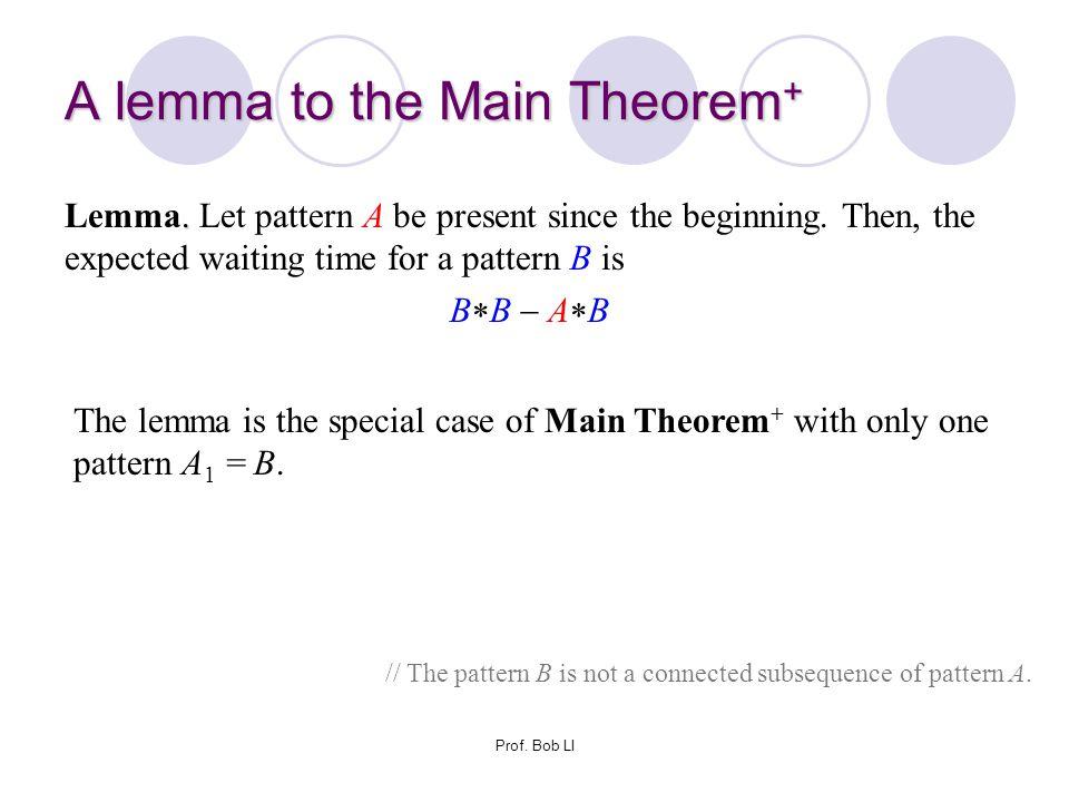 A lemma to the Main Theorem+