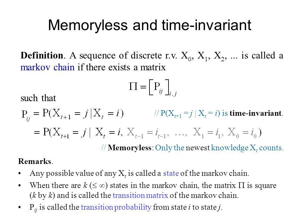 Memoryless and time-invariant