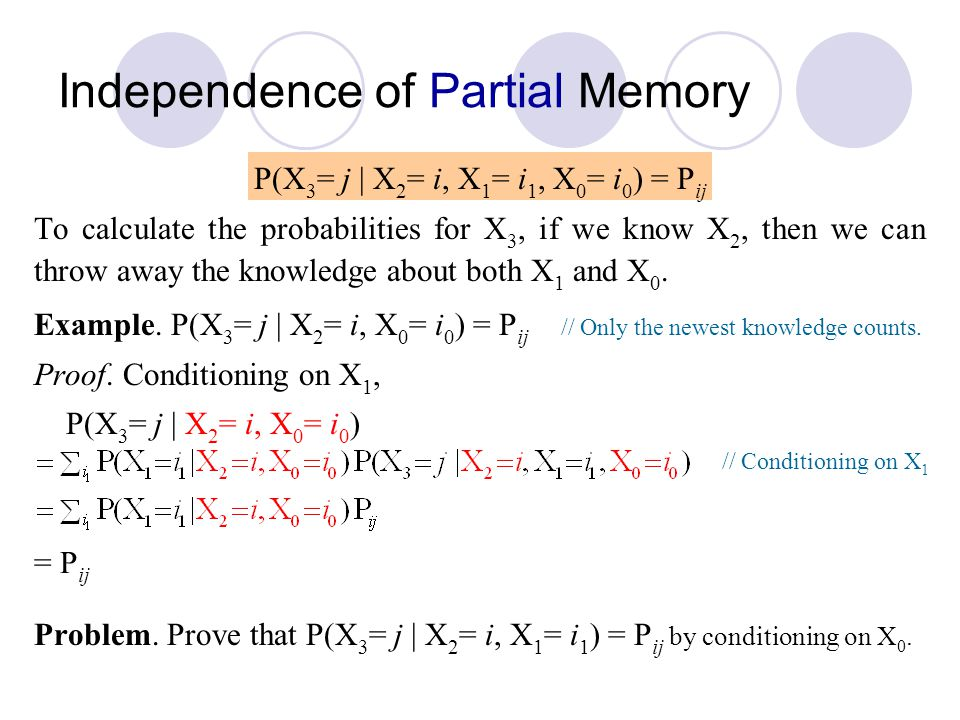 Independence of Partial Memory