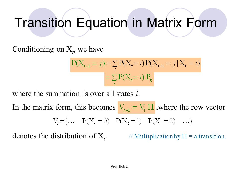 Transition Equation in Matrix Form