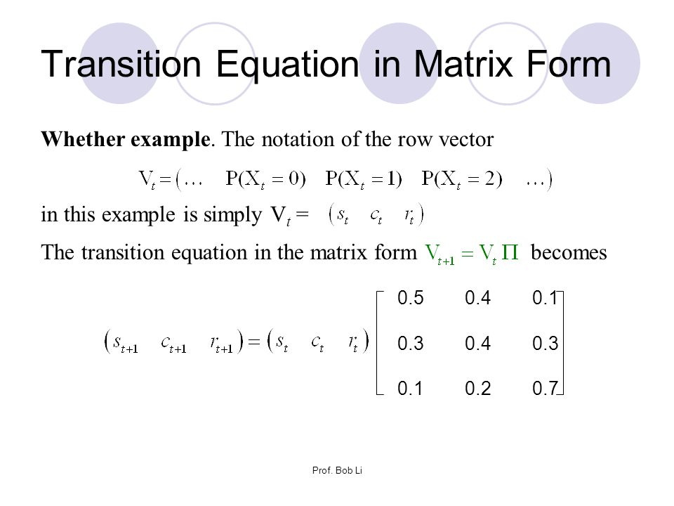 Transition Equation in Matrix Form