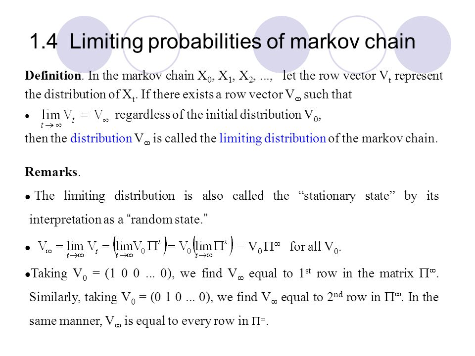 1.4 Limiting probabilities of markov chain