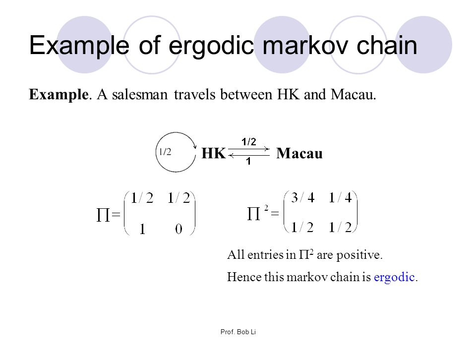 Example of ergodic markov chain