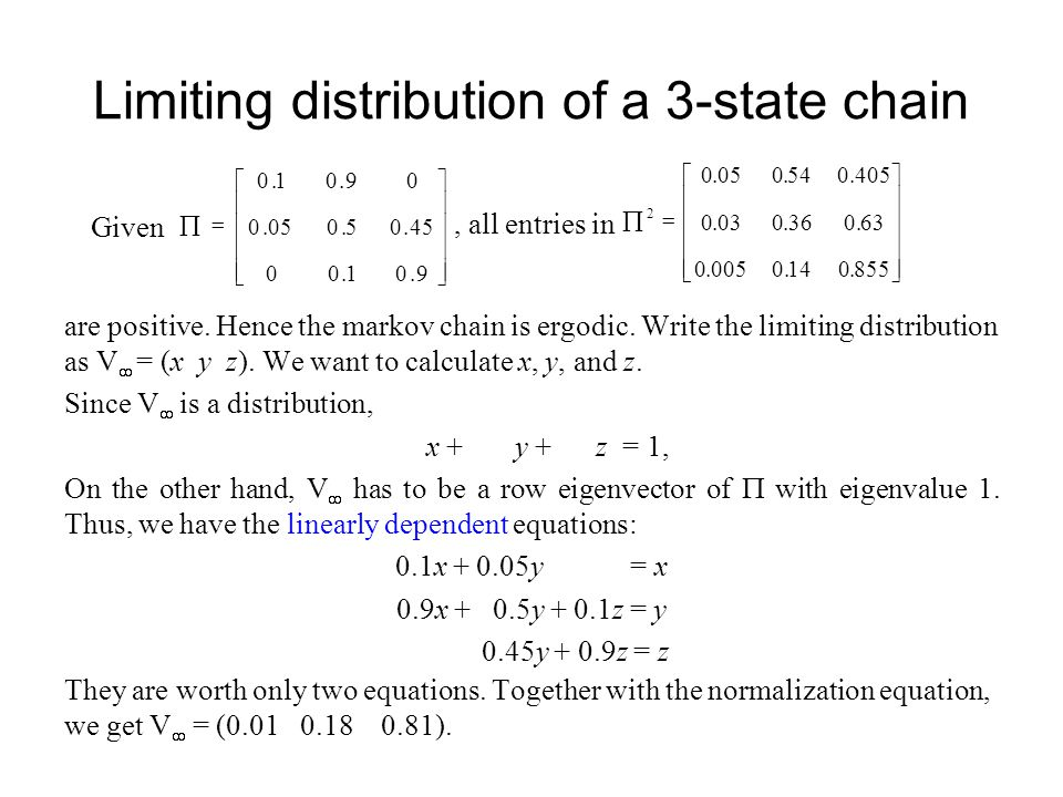 Limiting distribution of a 3-state chain