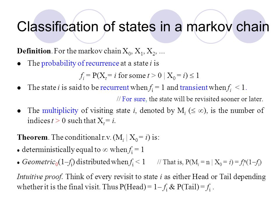 Classification of states in a markov chain