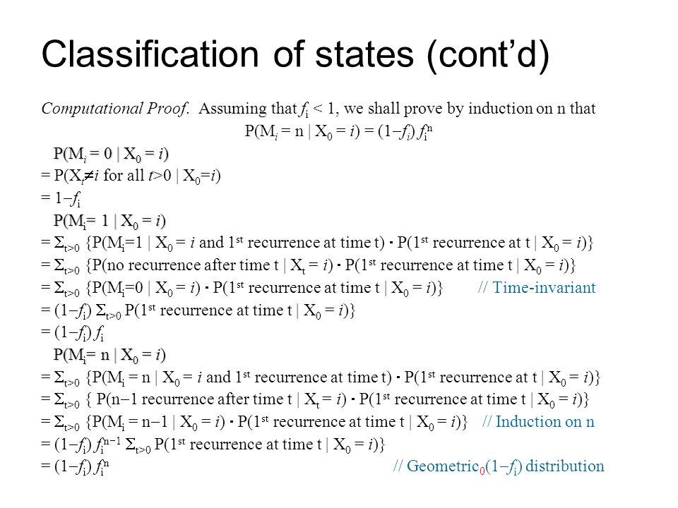 Classification of states (cont'd)