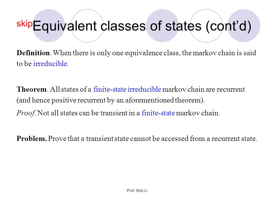 skipEquivalent classes of states (cont'd)