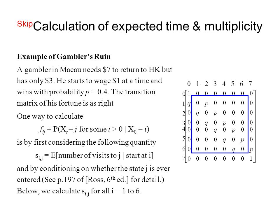 SkipCalculation of expected time & multiplicity
