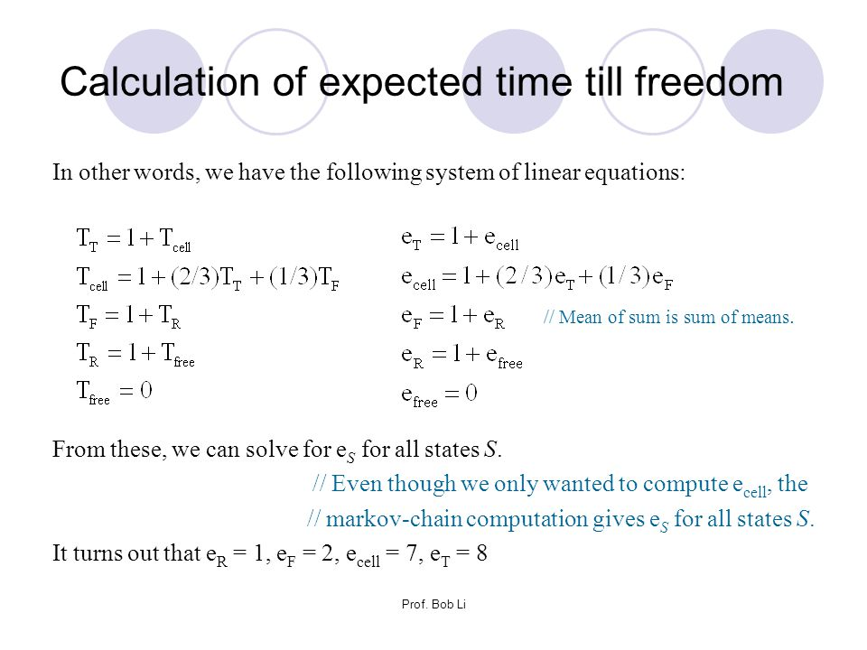 Calculation of expected time till freedom