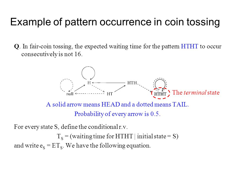 Example of pattern occurrence in coin tossing