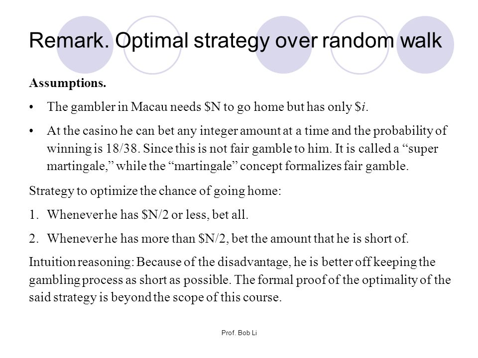 Remark. Optimal strategy over random walk