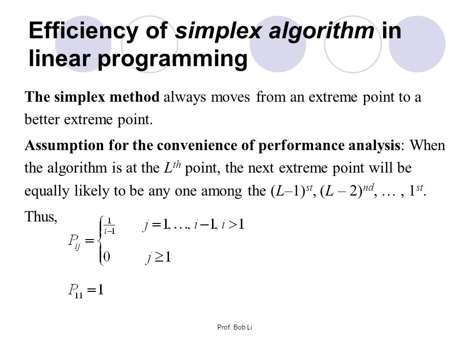 Efficiency of simplex algorithm in linear programming