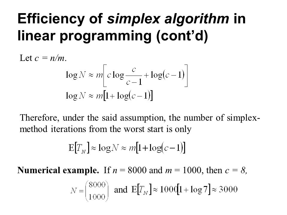 Efficiency of simplex algorithm in linear programming (cont'd)