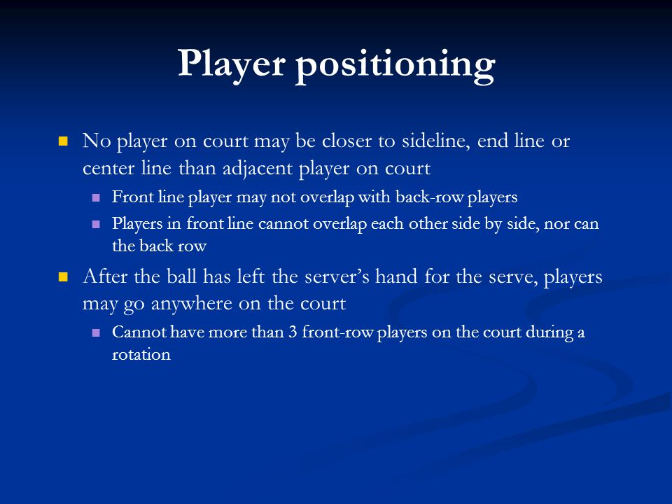 Player positioning No player on court may be closer to sideline, end line or center line than adjacent player on court.